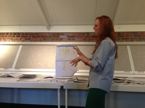 Also a third year student in the Department of Design, Housing and Merchandising, Kaitlin Jones explains the lighting details of her plan.